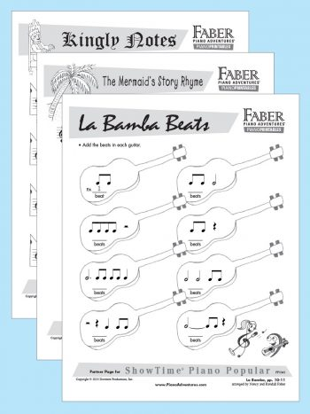 Printable Partner Pages for ShowTime Piano Popular